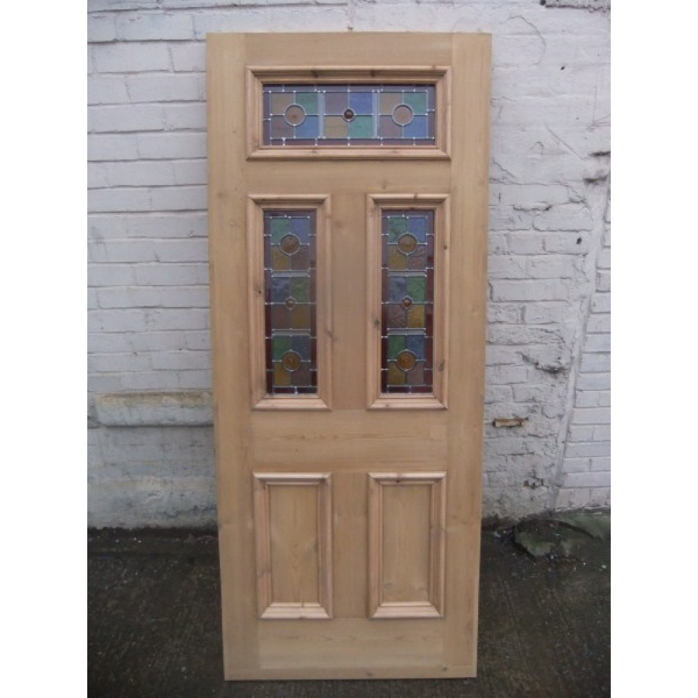 Doors SD071 Exterior 5 Panel Door With Vibrant Stained Glass Panels