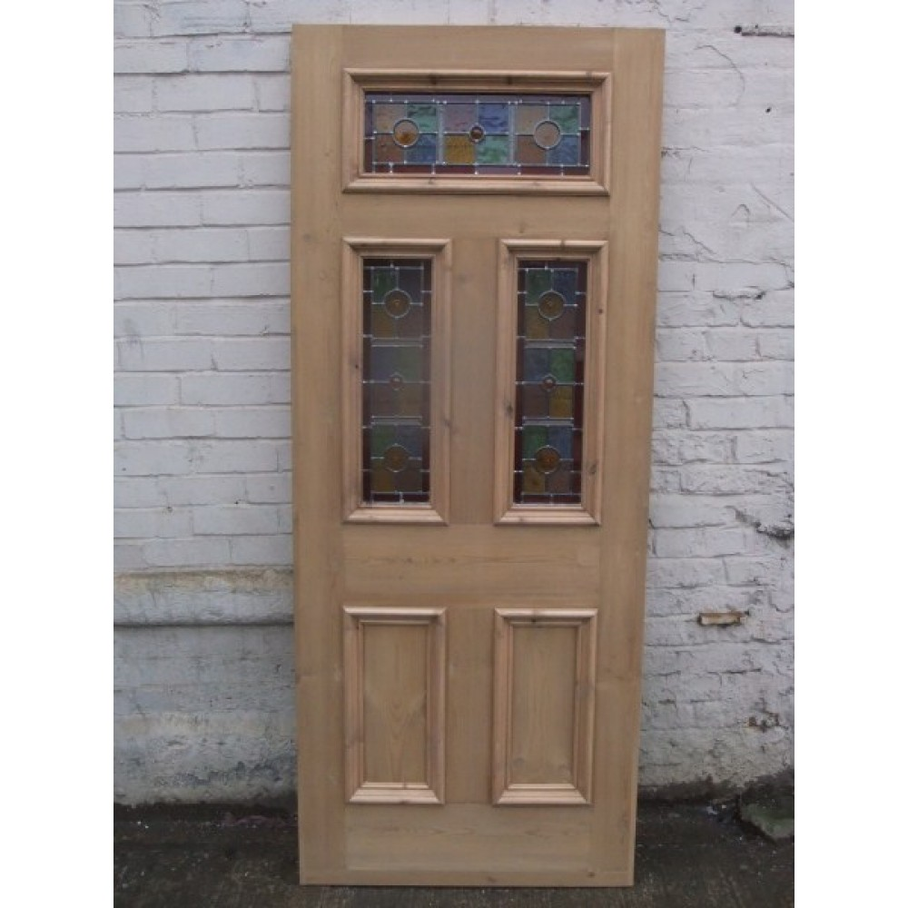Sd071 exterior 5 panel door with vibrant stained glass for Front door glass panels