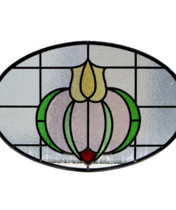 Art Nouveau 1930s Floral Stained Glass Panel