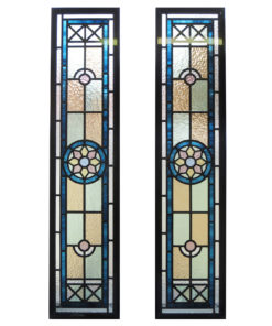 Blue Star Stained Glass Panels