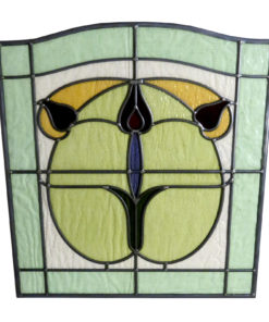 1930s Floral Art Nouveau Stained Glass Panel