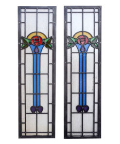 Art Nouveau Torch Stained Glass Panels