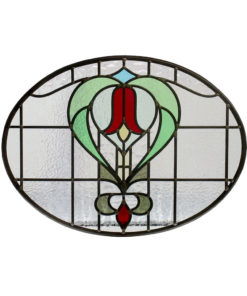 Simple Floral 1930s Stained Glass Panel