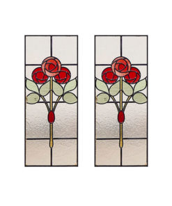 Victorian Mackintosh Rose Stained Glass Panels