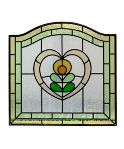 1930s Floral Heart Stained Glass Panel