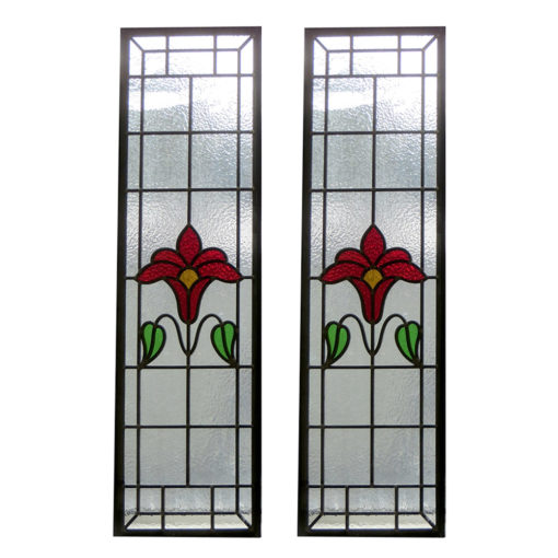 Traditional Art Nouveau Stained Glass Panels