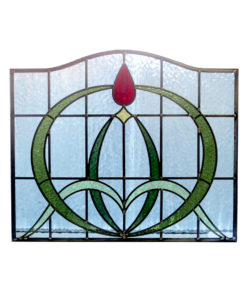 Art Nouveau Arched Stained Glass Panel