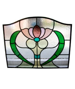 Art Nouveau Floral Stained Glass Panel