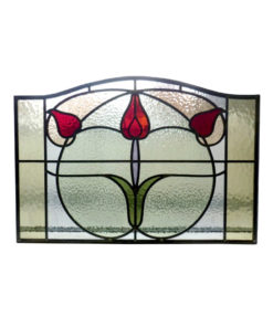 Floral Art Nouveau Stained Glass Panel