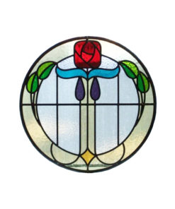 1930s Mackintosh Rose Stained Glass Panel