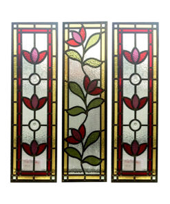 Floral Nouveau Stained Glass Panels