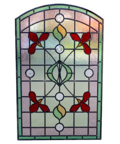 Detailed Art Nouveau Stained Glass Panel