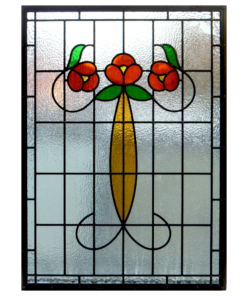 Traditional Floral Nouveau Stained Glass Panel
