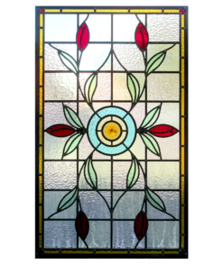Intricate Floral Art Nouveau Stained Glass Panel