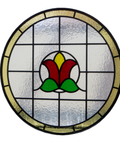 Art Nouveau Floral Bud Stained Glass Panel
