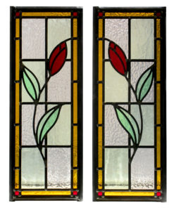 Edwardian Floral Stained Glass Panels