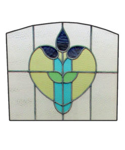 Floral Heart Stained Glass Panel