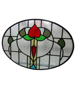 1930s Floral Stained Glass Panel