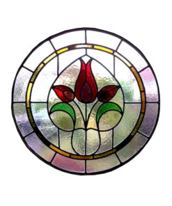 Circular Floral Stained Glass Panel