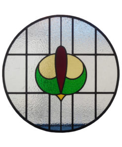 Round 1930s Stained Glass Panel