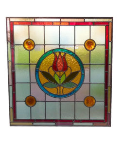Central Rose Stained Glass Panel
