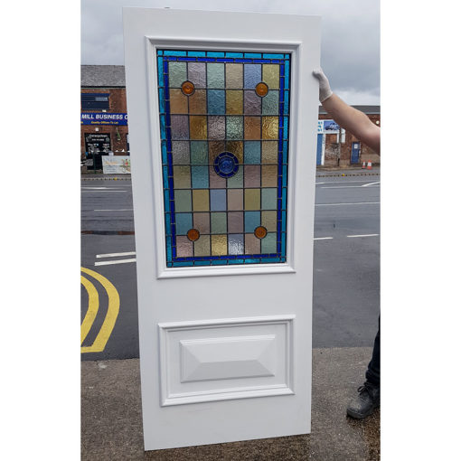 BD01 - Hardwood Two Panel Front Door With Stained Glass