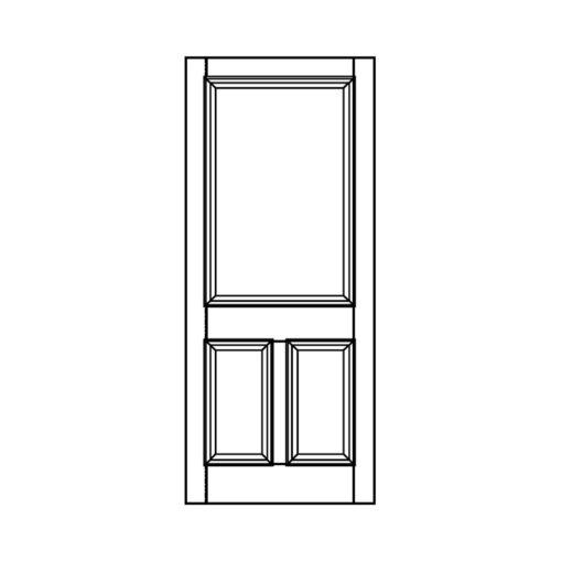 ND02 - Victorian To Edwardian Moulded 3 Panel Door (Hardwood/Softwood)
