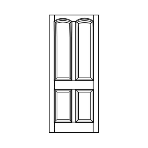 ND06 - Victorian To Edwardian Moulded Arched 4 Panel Door