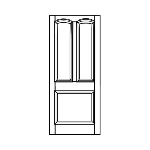 ND08 - Victorian To Edwardian Moulded Curved 3 Panel Door