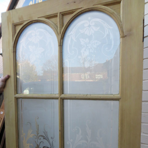 OD005 - Original Arched Etched Glass Door - Top Arches