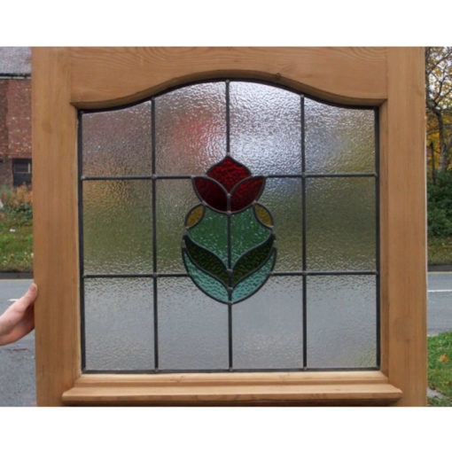 SG162 - 1930s Rose Bud Stained Glass Design - In Door