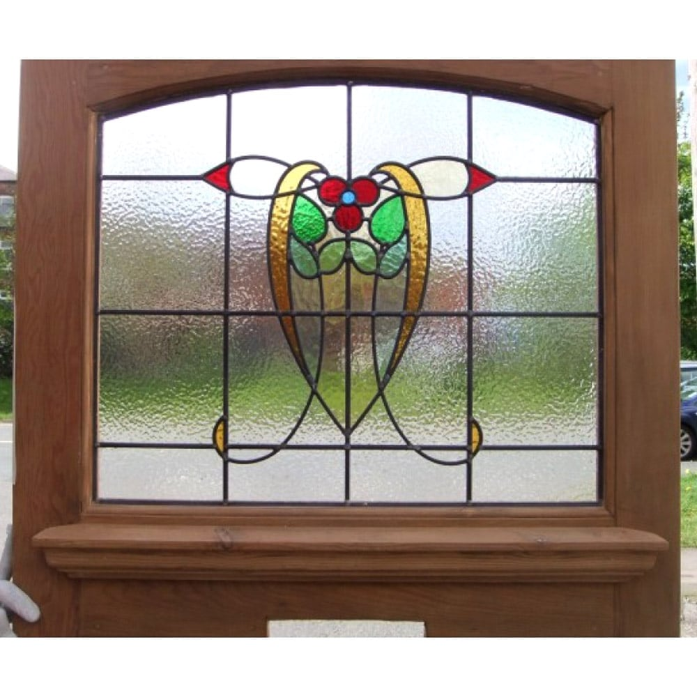 1930 Edwardian Stained Glass Exterior Door Nouveau Yellow Tulip