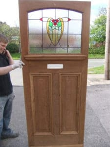 1930s Stained Glass Exterior Door (Nouveau Tulip)