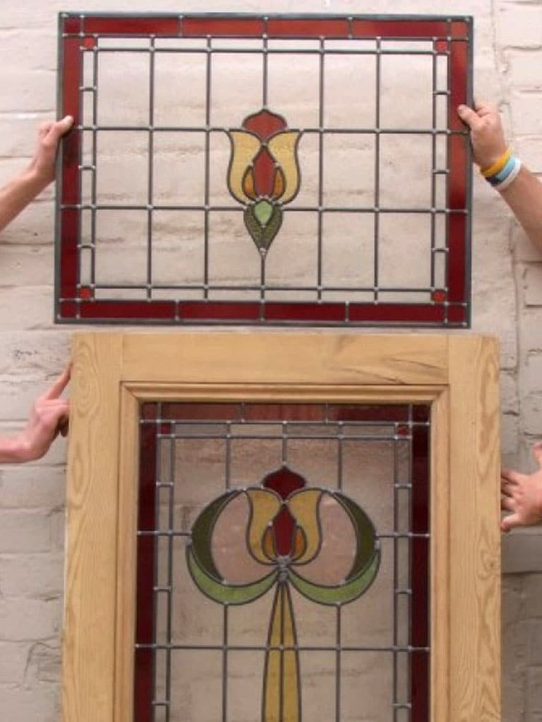 Sd004 edwardian original stained glass exterior door for Exterior glass panel design