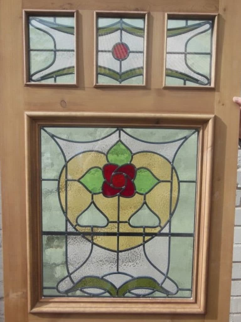 Sd007 victorian edwardian original stained glass exterior door 39 the nouveau jersey 39 for Stained glass exterior front doors